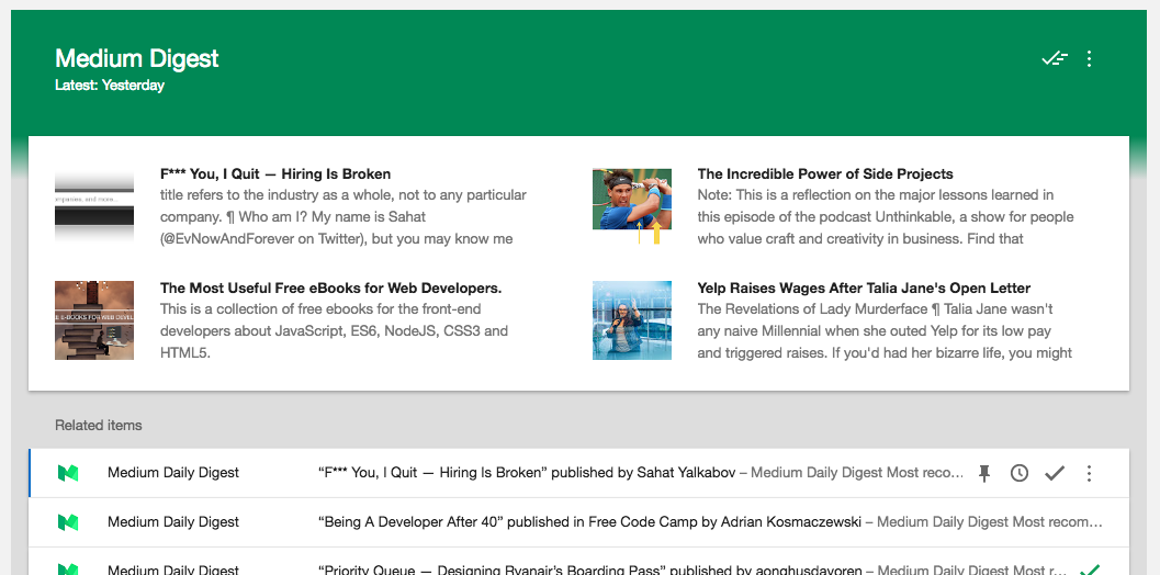 medium example - glanceable newsletter - featured articles