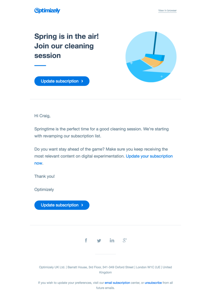 GDPR re-permission campaign by Optimizely