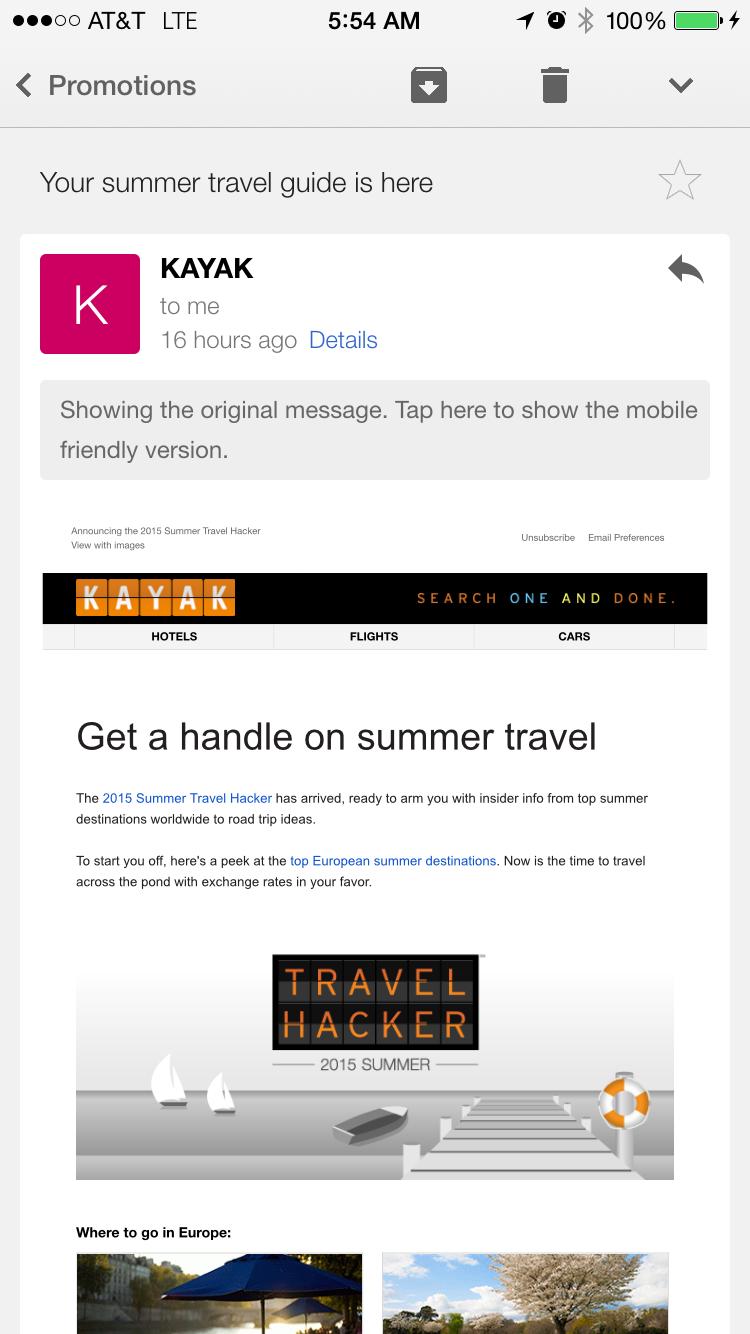 Gmail on iOS: Original