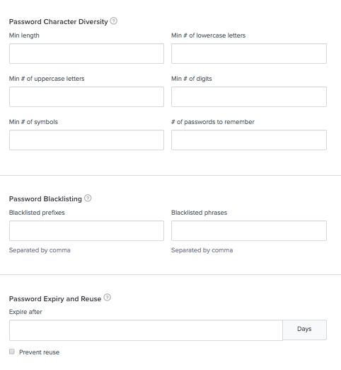 Custom Password Settings