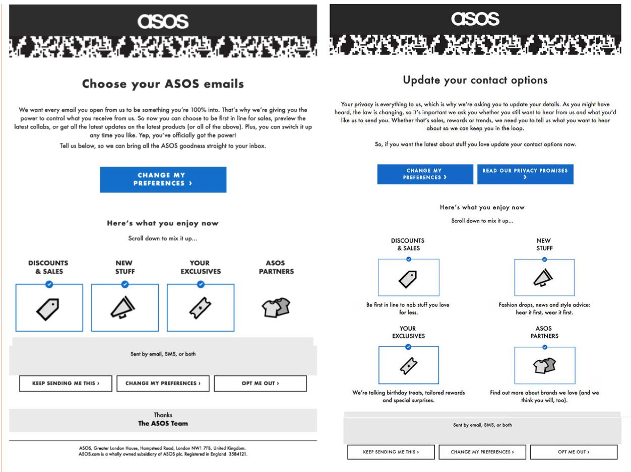 ASOS A/B testing their GDPR re-permission emails