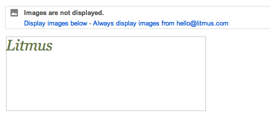 Disabled image with styled alt text in Gmail