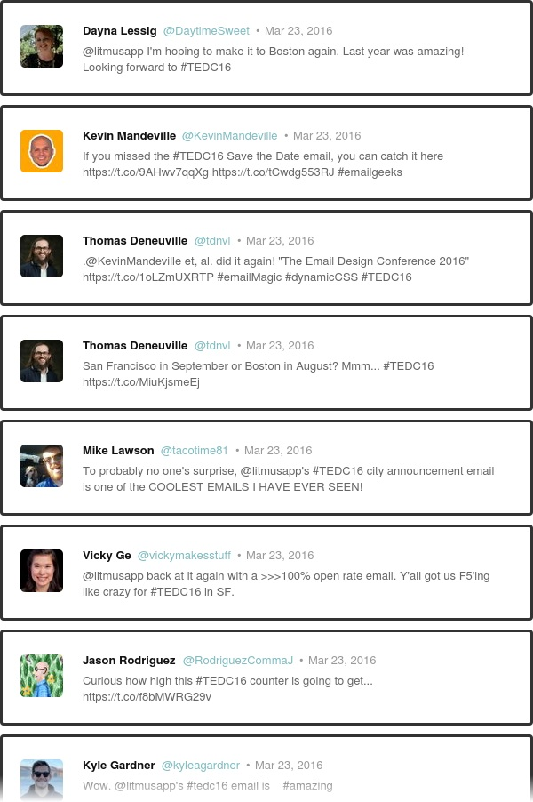 tweet #TEDC15 to show up in the live feed!