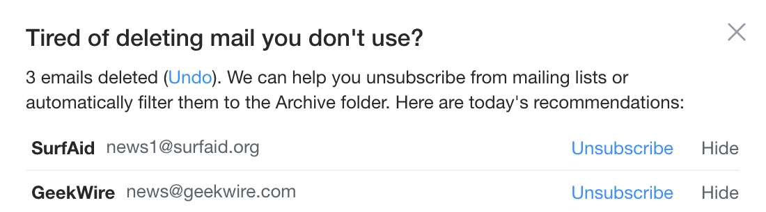Unsubscribe suggestions in Yahoo! Mail