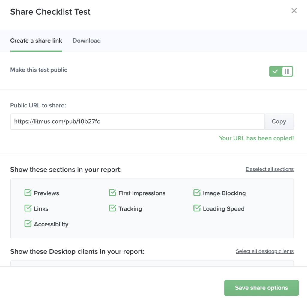 Litmus Checklist Test share options and link