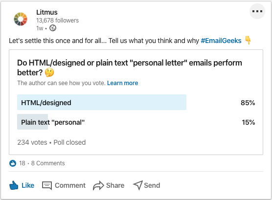 """Litmus poll results on LinkedIn with 85% voting that HTML/designed emails perform better and 15% voting for plain text """"personal"""""""