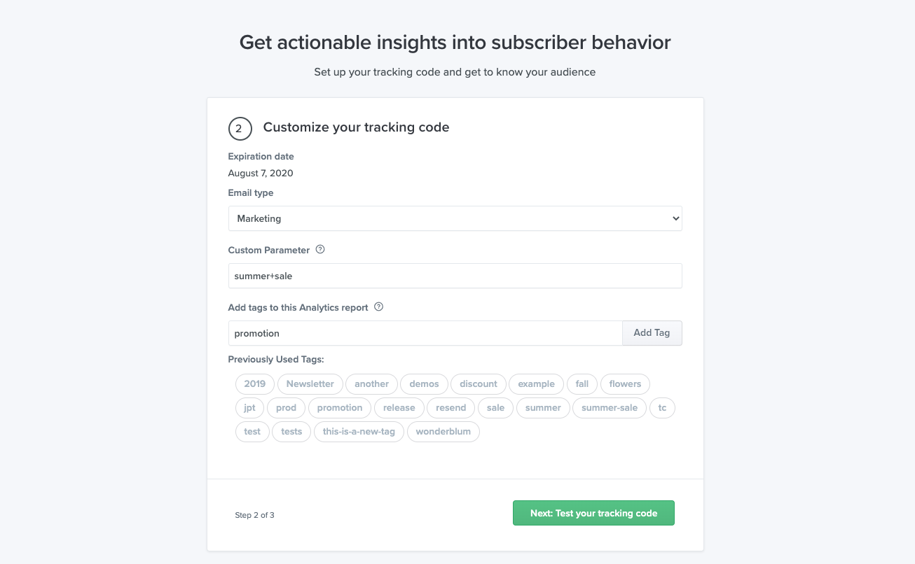 Customize your tracking code