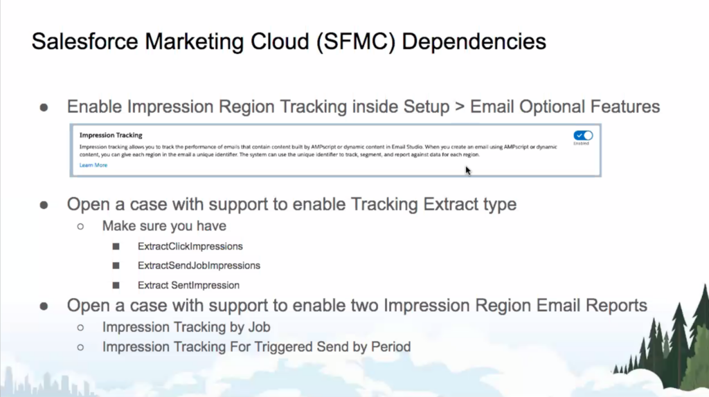 Salesforce Marketing Cloud dependencies for Impression Region Tracking