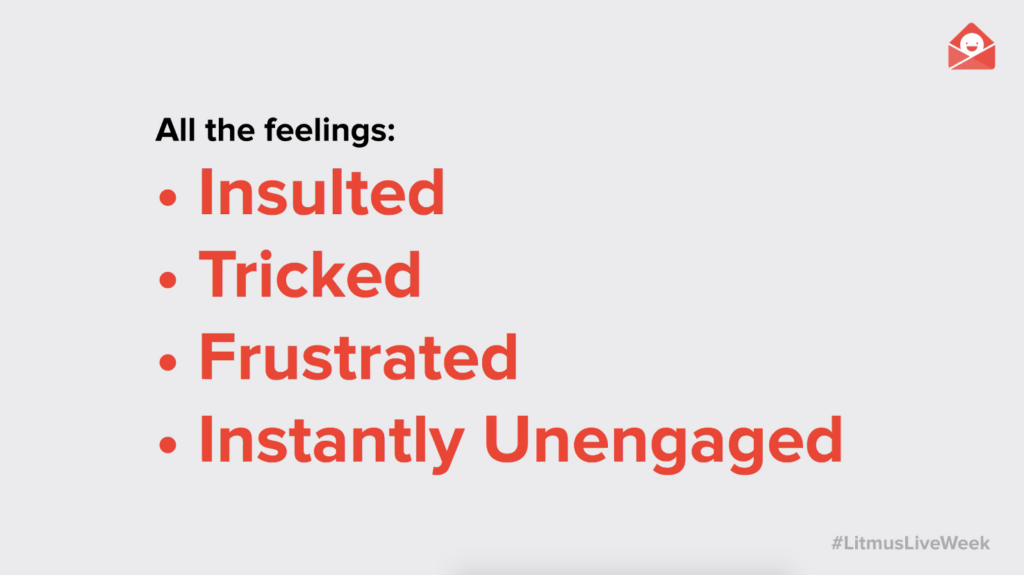 session slide on all the pop-up feelings: insulted, tricked, frustrated, instantly unengaged