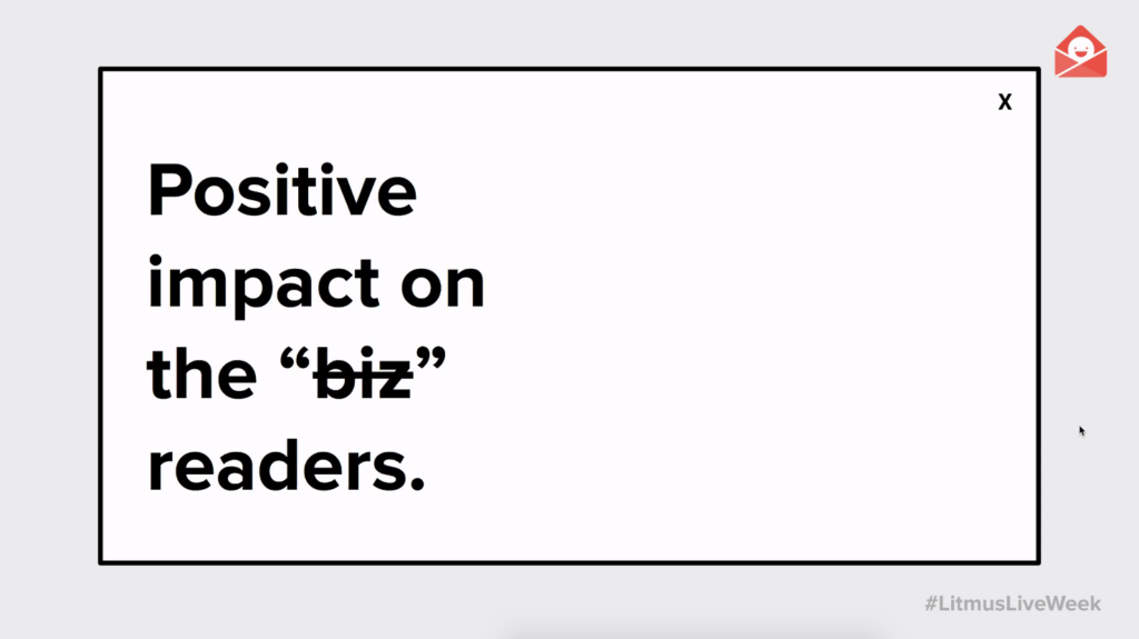 session slide: positive impact on the readers, not the business