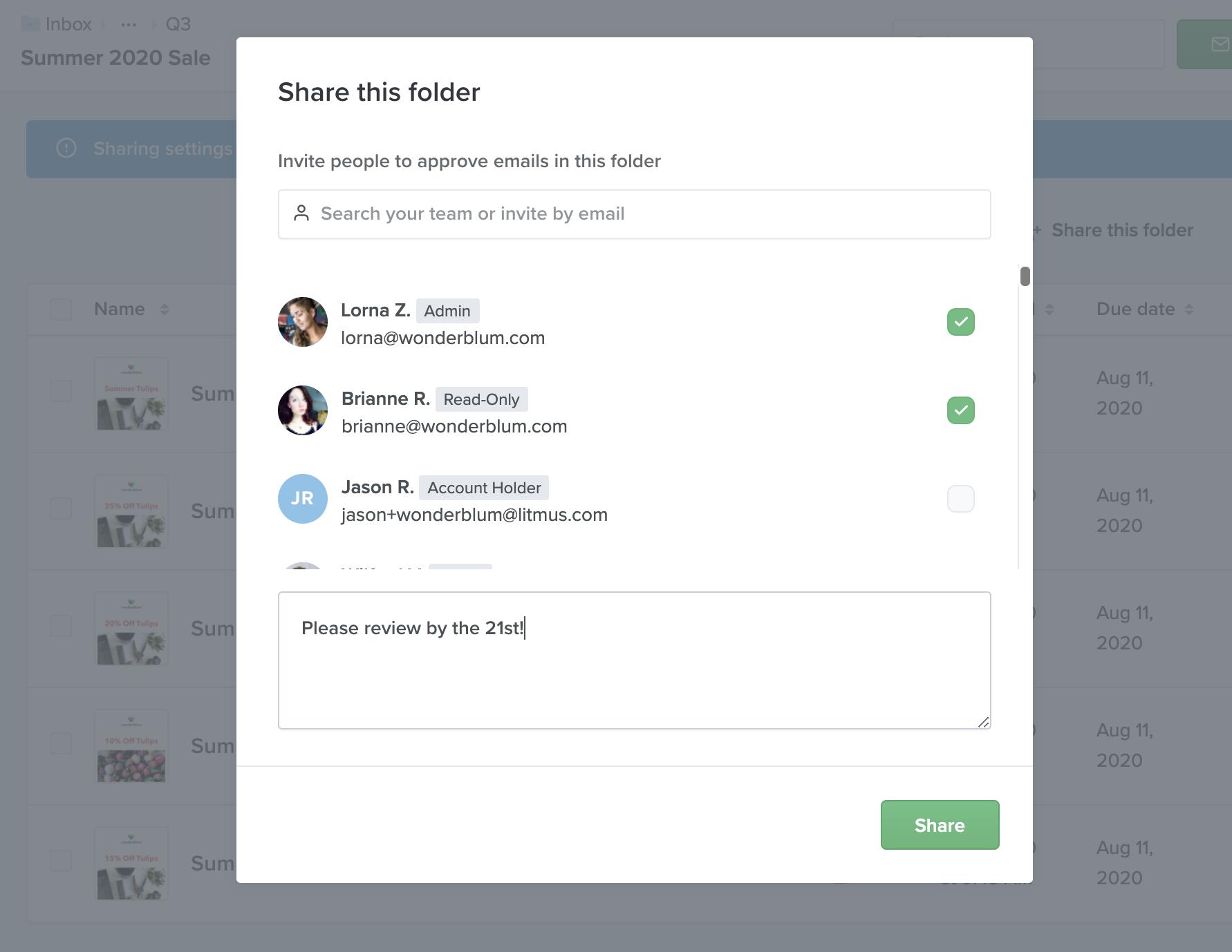 Litmus Folder Sharing modal