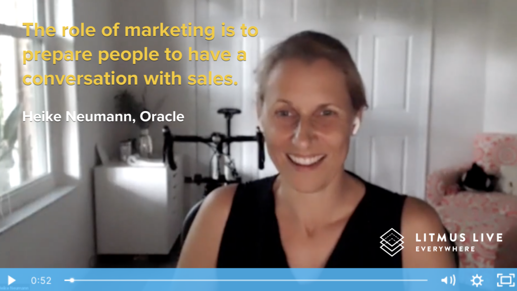 session slide with Heike Neumann and quote: the role of the marketer is to prepare people to have a conversation with sales