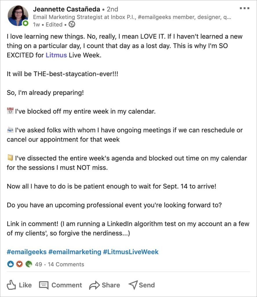 LinkedIn post from Jeannette Castaneda about her excitement for Litmus Live Week 2020