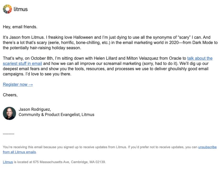 Non-customer webinar text email