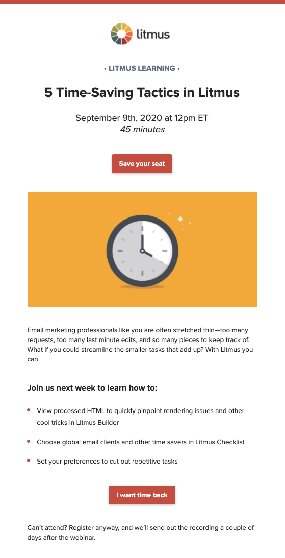 5 Time-saving Tips Customer Webinar Email