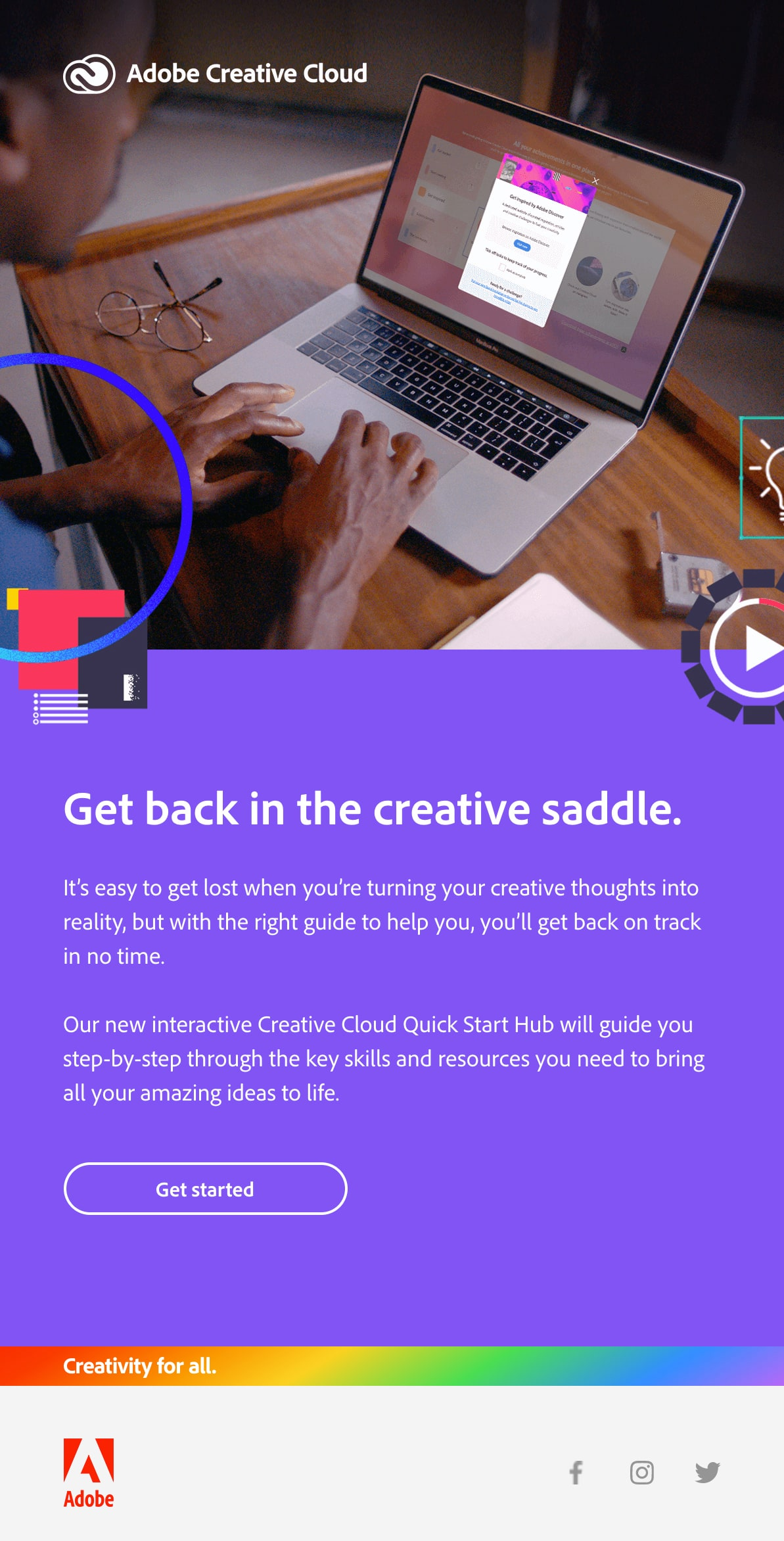 Adobe email with rainbow band in footer to show creativity for all