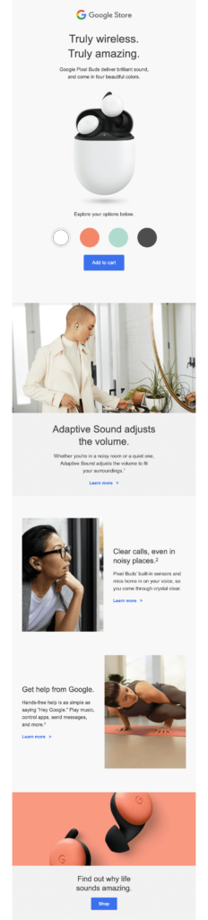 Google Store email with 3D imagery and interactive design elements