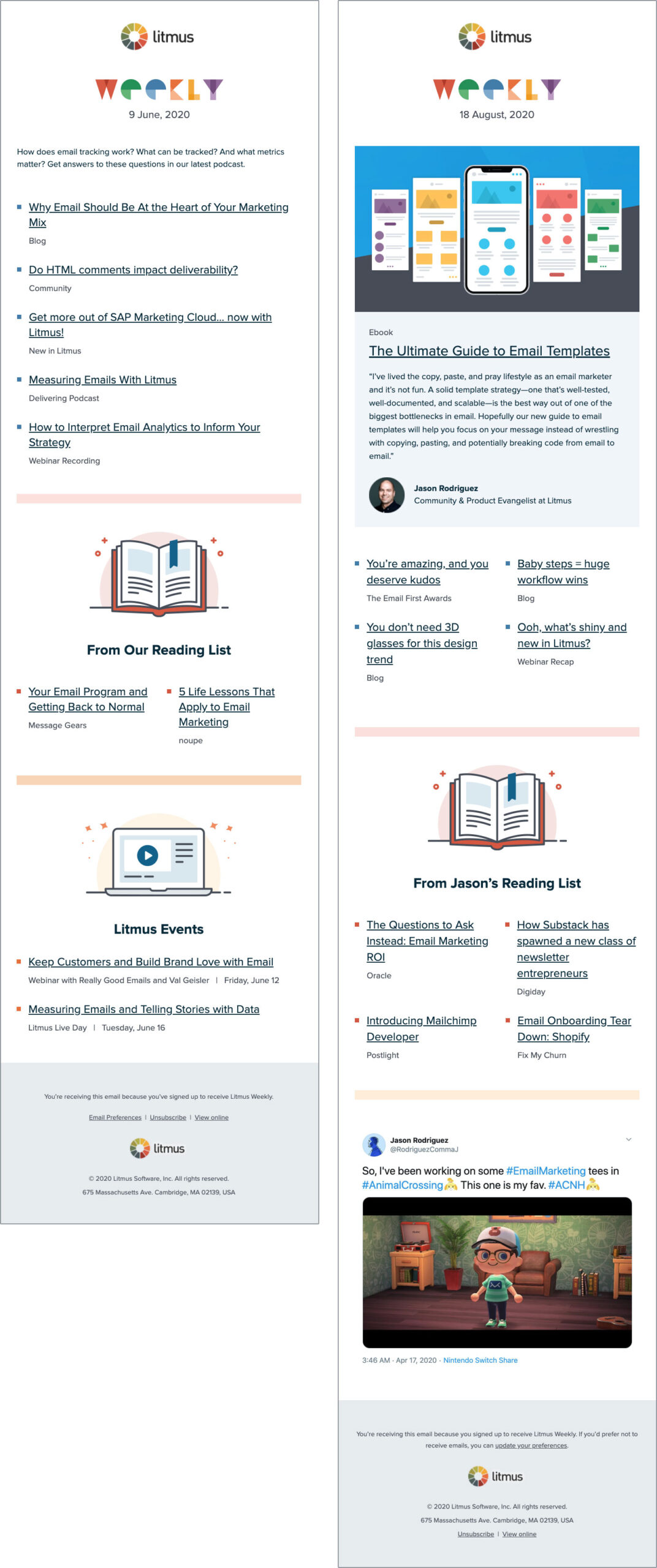Litmus Weekly design before and after