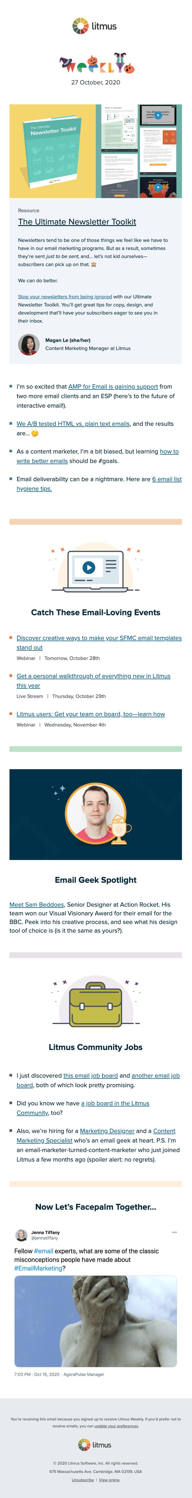 Litmus Weekly newsletter Halloween edition