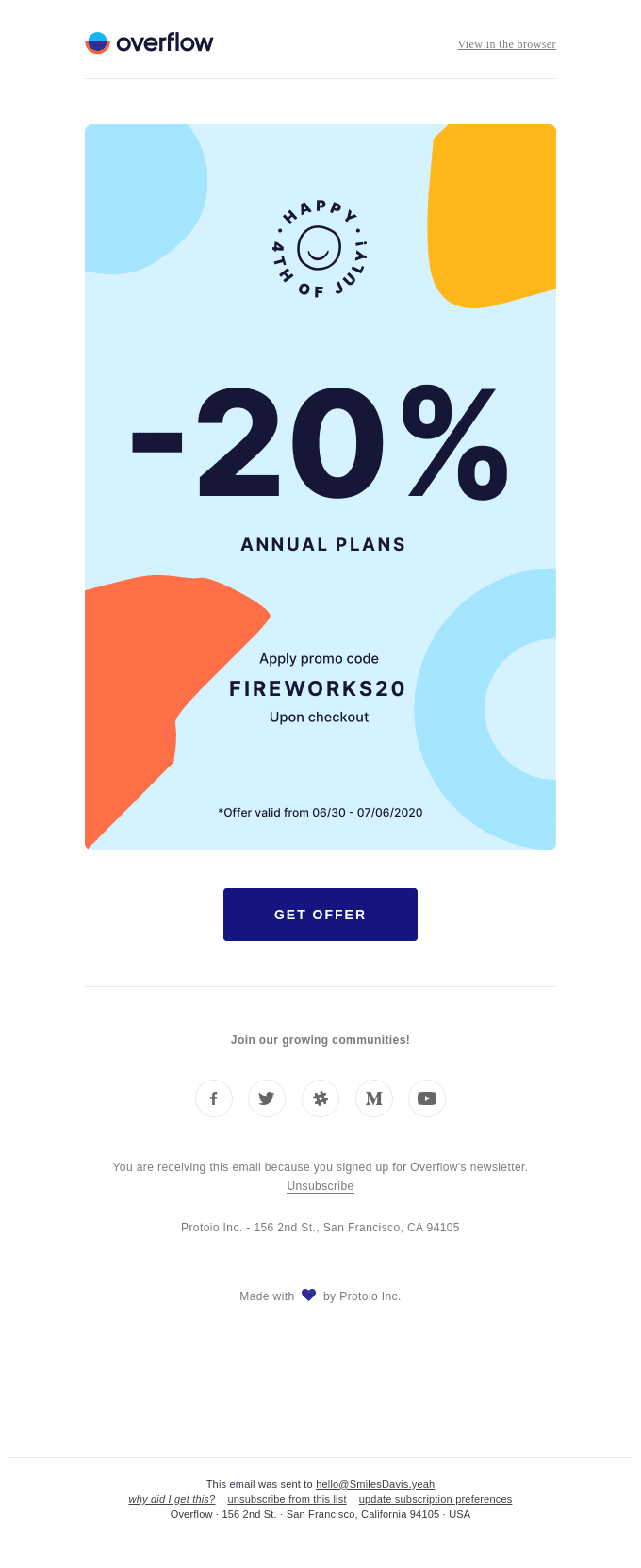 Overflow email with organic shapes