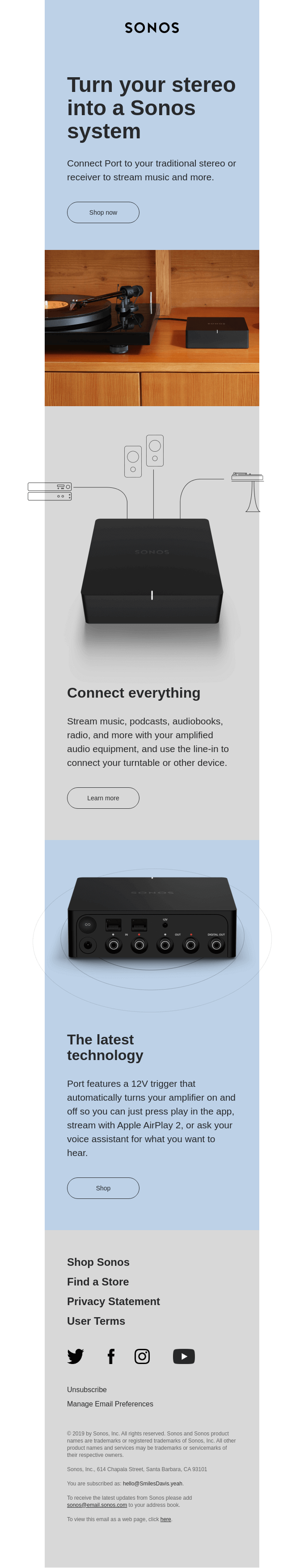 Sonos email with 3D imagery, simple illustrations, and subtle off-grid abstractions