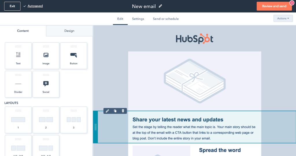 HubSpot email editor