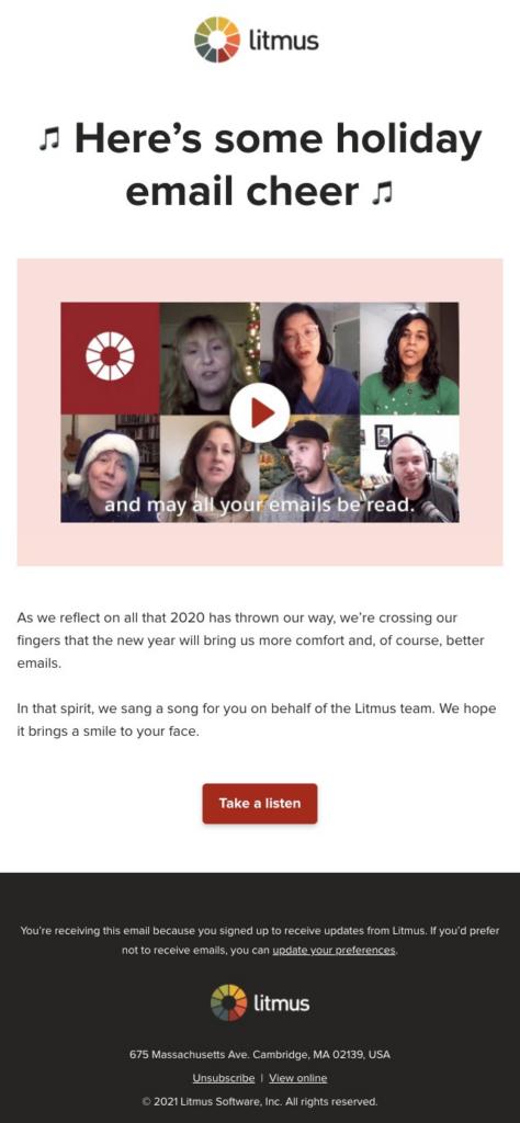 Litmus holiday subscriber appreciation email