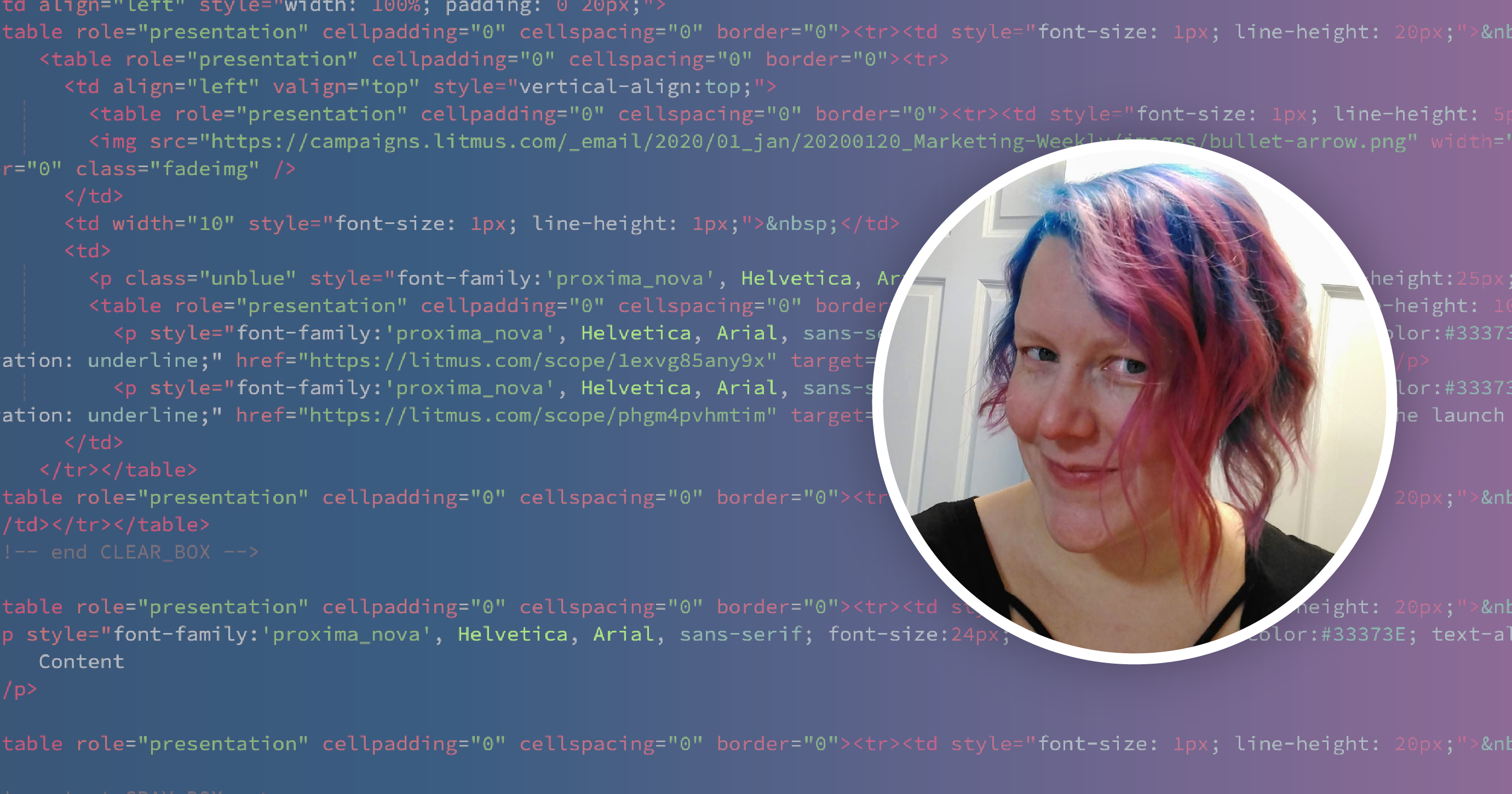Carin Slater coding emails with Litmus Builder