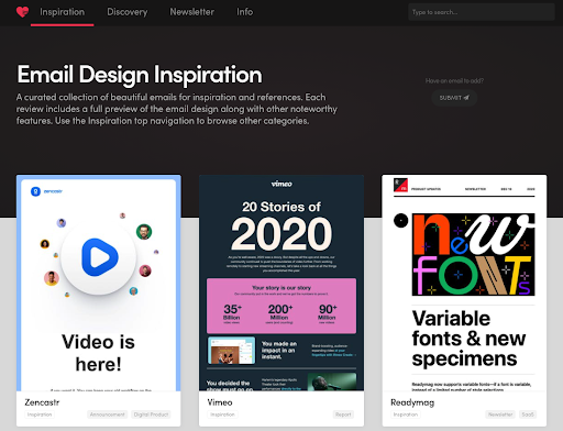 email design inspiration from Email Love