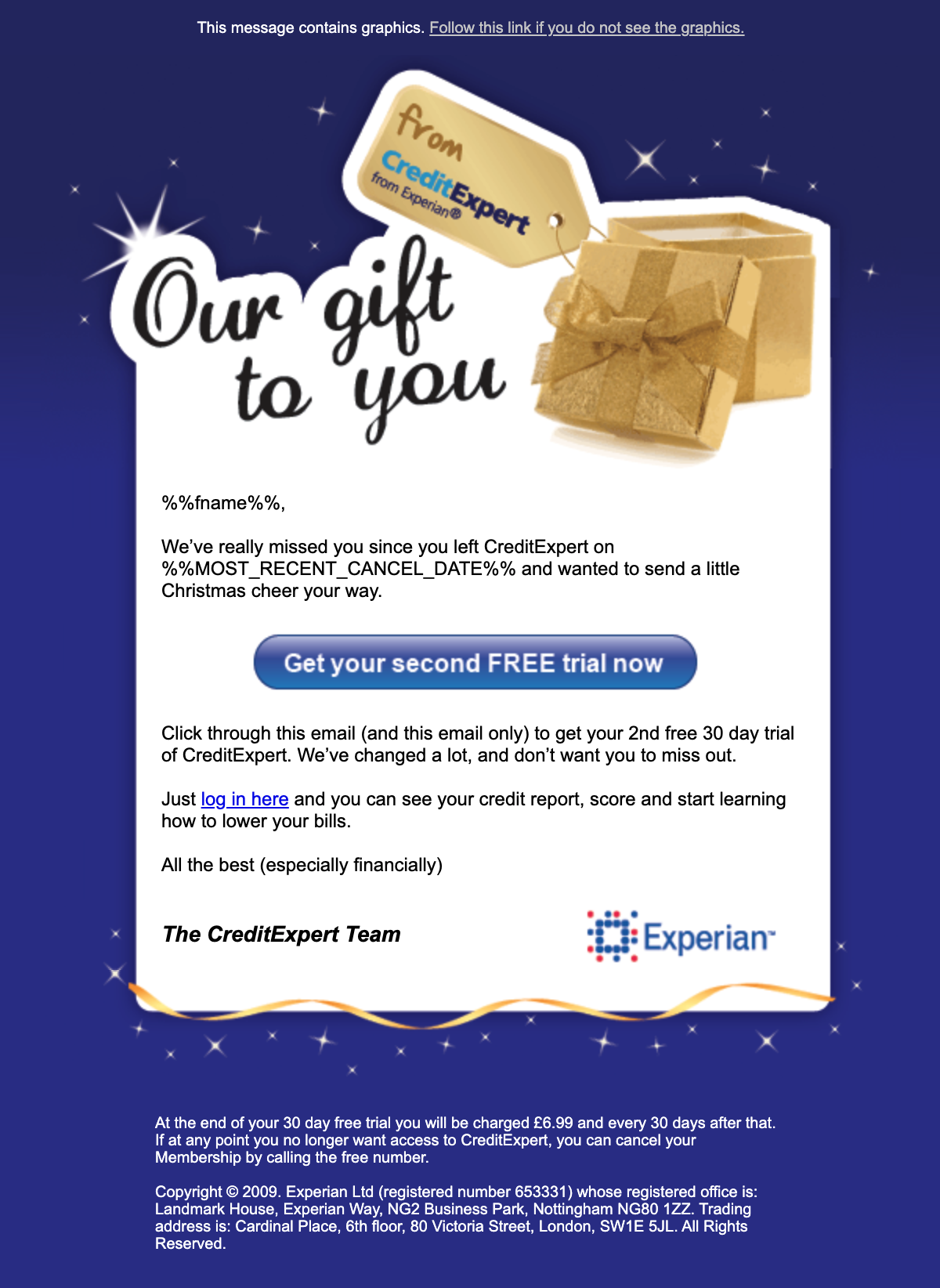 Lily Worth Experian Email 2009
