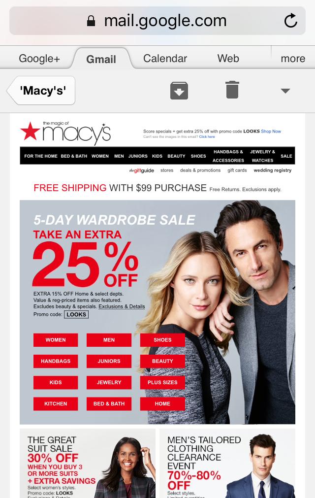 Macys Unresponsive Email