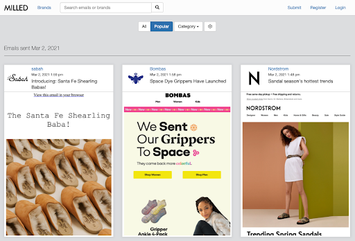 email inspiration and email examples from Milled