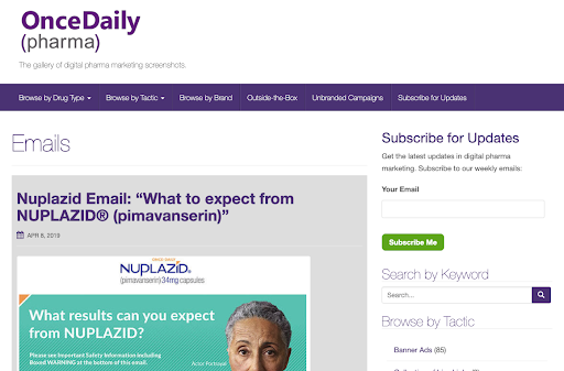pharmaceutical email inspiration and examples from OnceDailyPharma