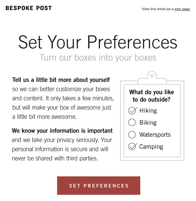 Bespoke preference center