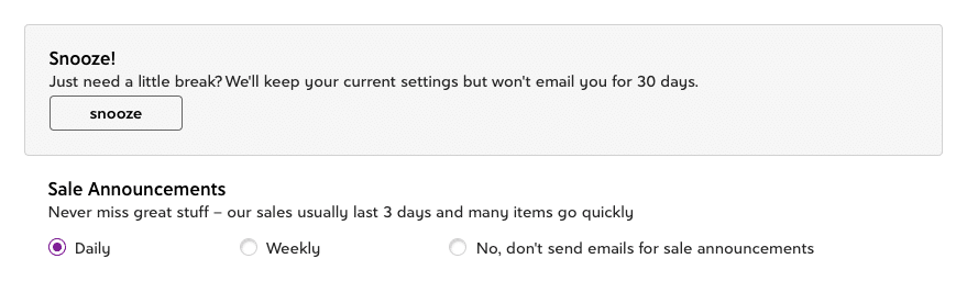 Zulily Timing Preferences