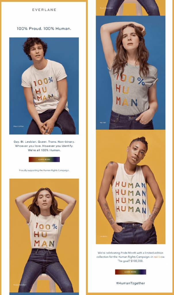 Everlane's 100% human email campaign