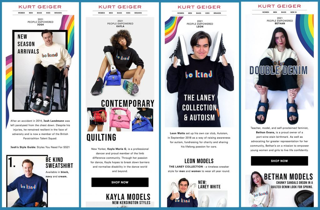 Kurt Geiger email examples of People Empowered campaign