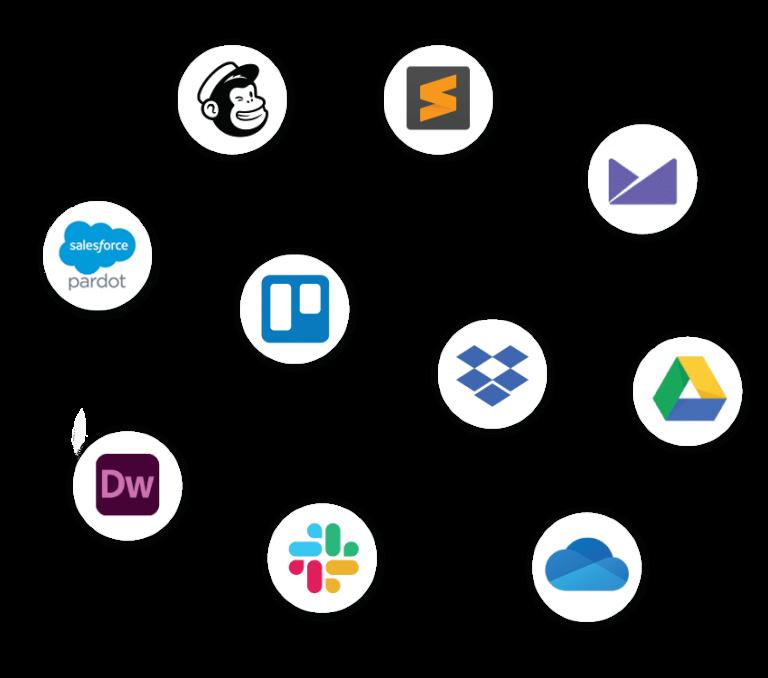 Logos in white circles