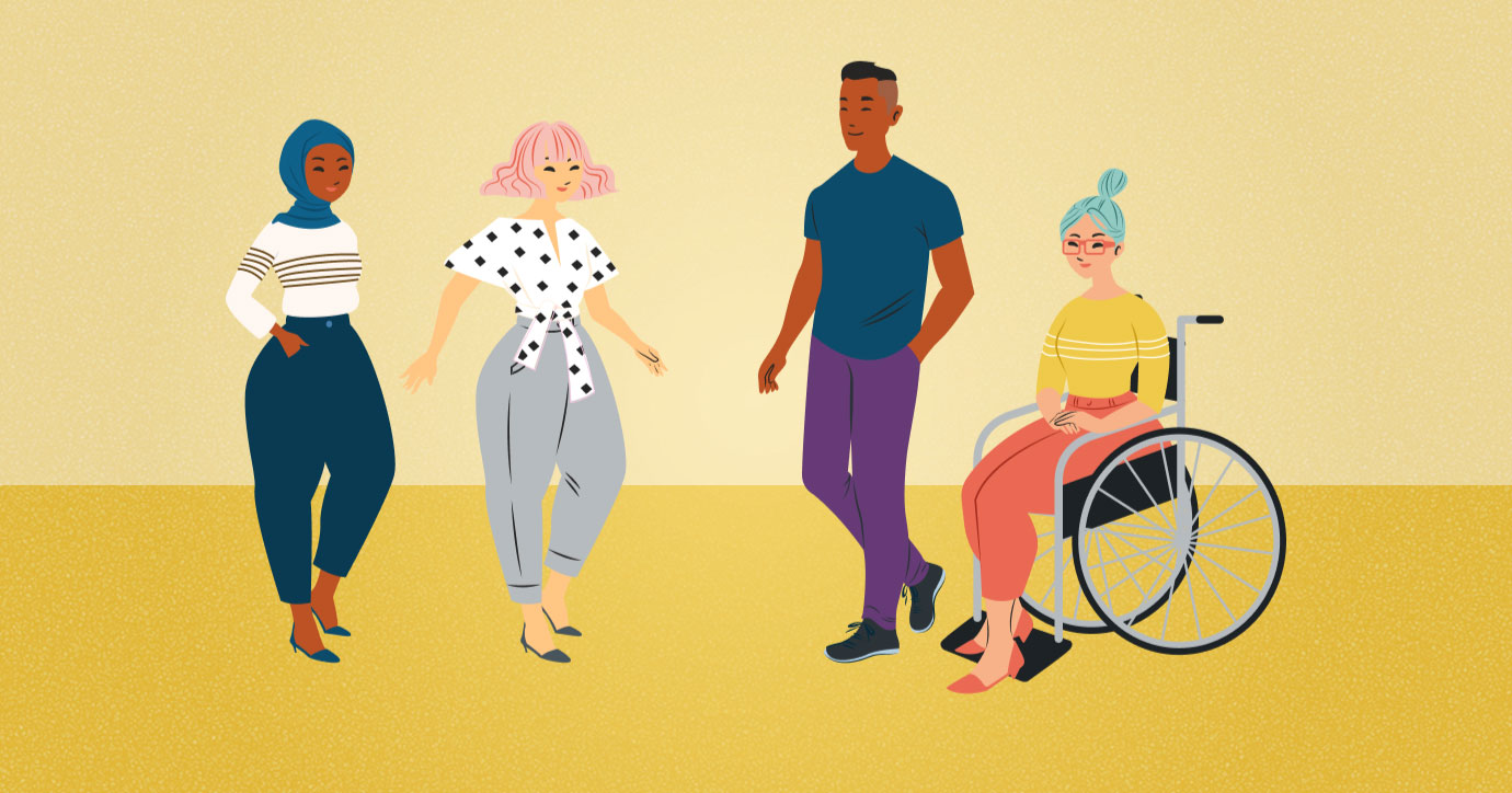 illustration showing diverse people