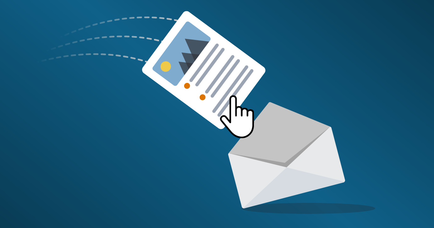 cursor dragging email into an envelope
