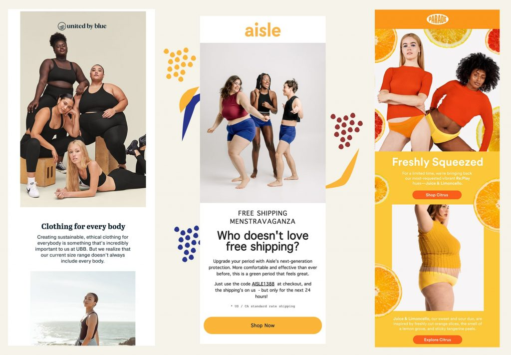 email examples showing body diversity
