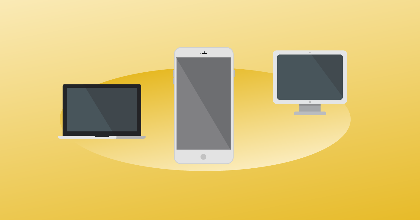 laptop, mobile phone, and desktop monitor on a yellow background