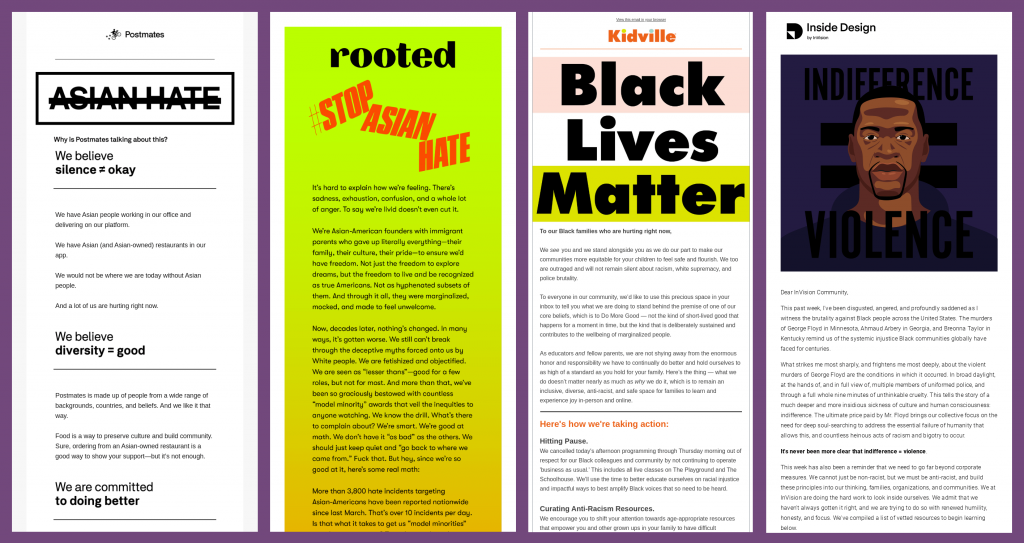 Email examples supporting anti-racism