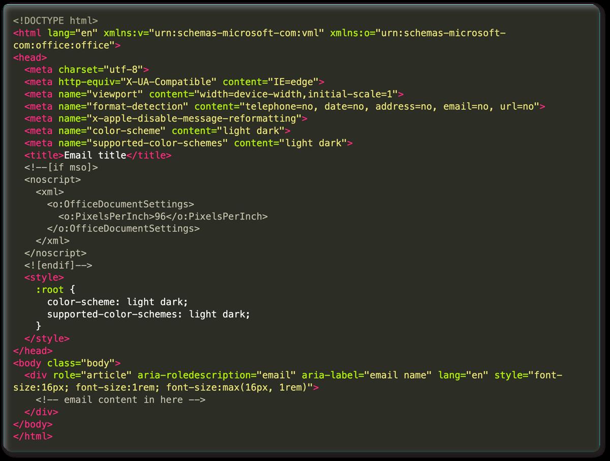 email boilerplate code