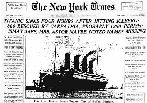 The New York Times newspaper with Titanic sinks headline
