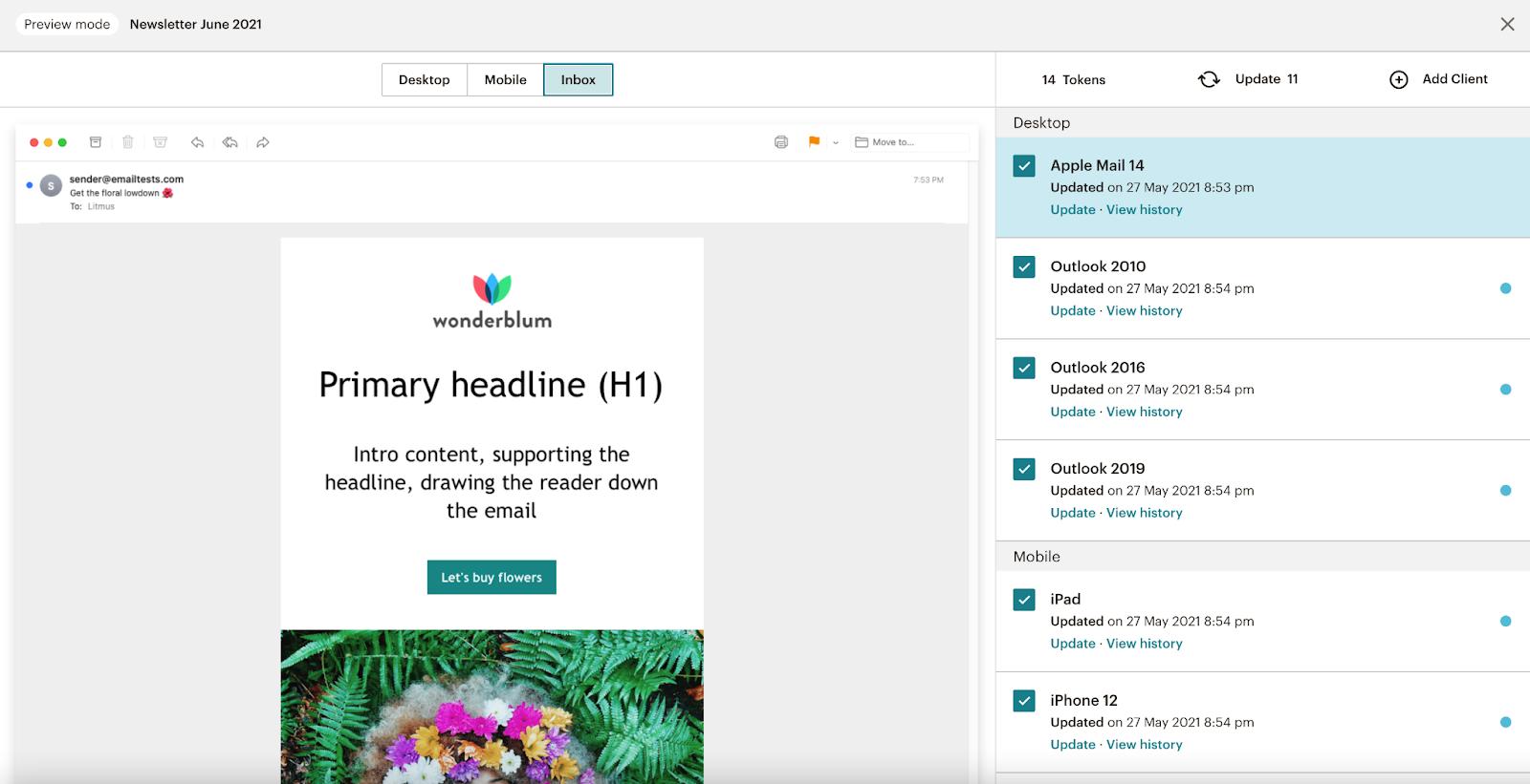 Litmus Inbox Previews in Mailchimp