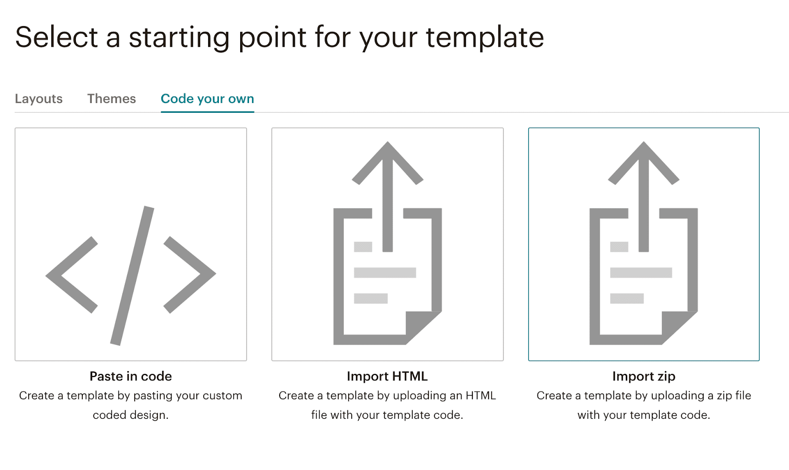Mailchimp: select a starting point for your template