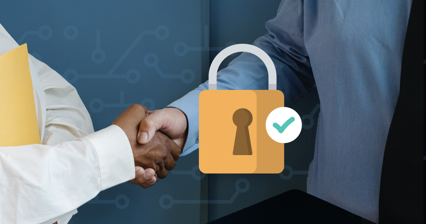 hand shaking overlaid with an graphic lock and green checkmark