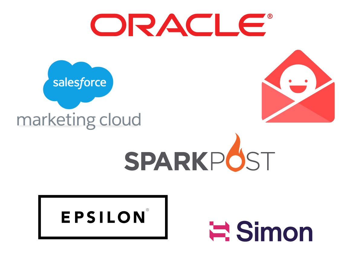 Oracle, Salesforce Marketing Cloud, Really Good Emails, SparkPost, Epsilon, and Simon sponsor logos