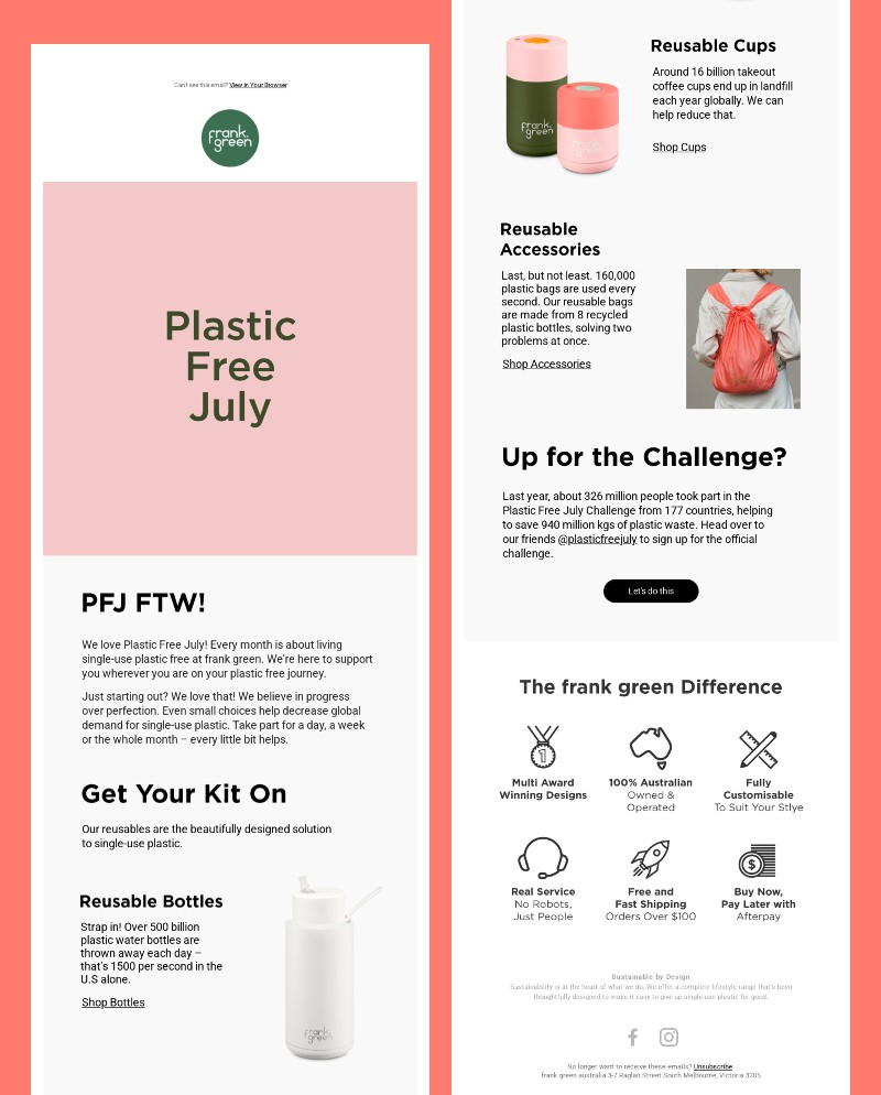 frank green Plastic Free July email